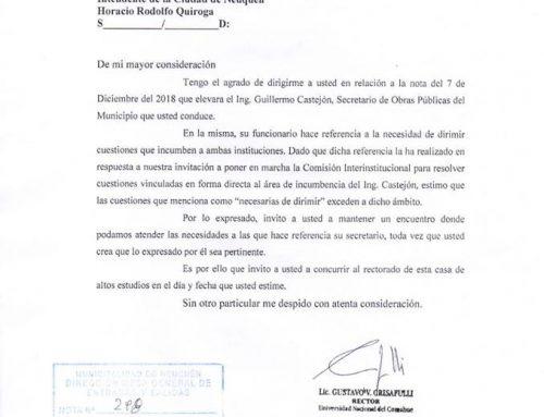 Crisafulli instó al intendente Horacio Quiroga a mantener una reunión.