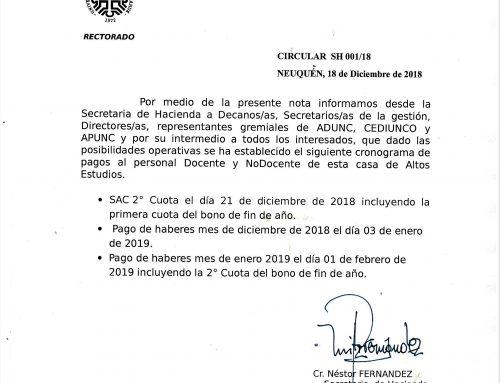 Pago de haberes en la #UNCo – Circular SH 01 2018 – Neuquén, 18 de diciembre de 2018. #UNComa.