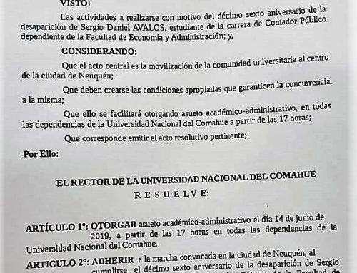 Aniversario de la desaparición de Sergio Avalos. #UNCo