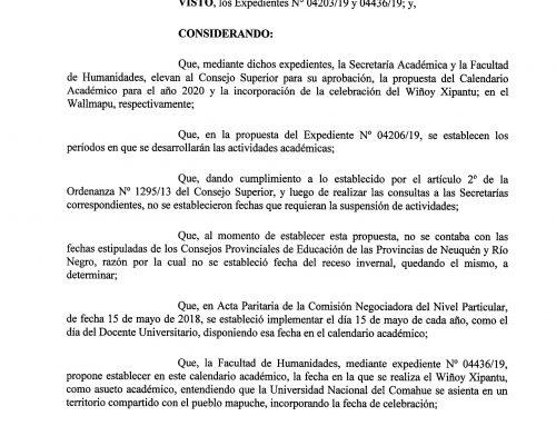 Calendario Académico 2020 – Universidad Nacional del Comahue (#UNCo)