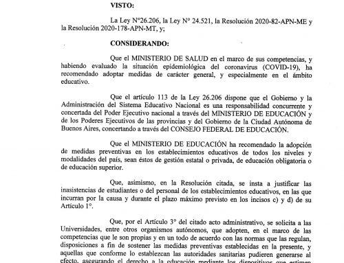 Resolución de la #UNCo sobre el protocolo por Coronavirus. #UNComa
